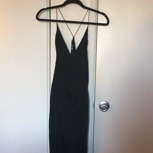 100% silk black dress